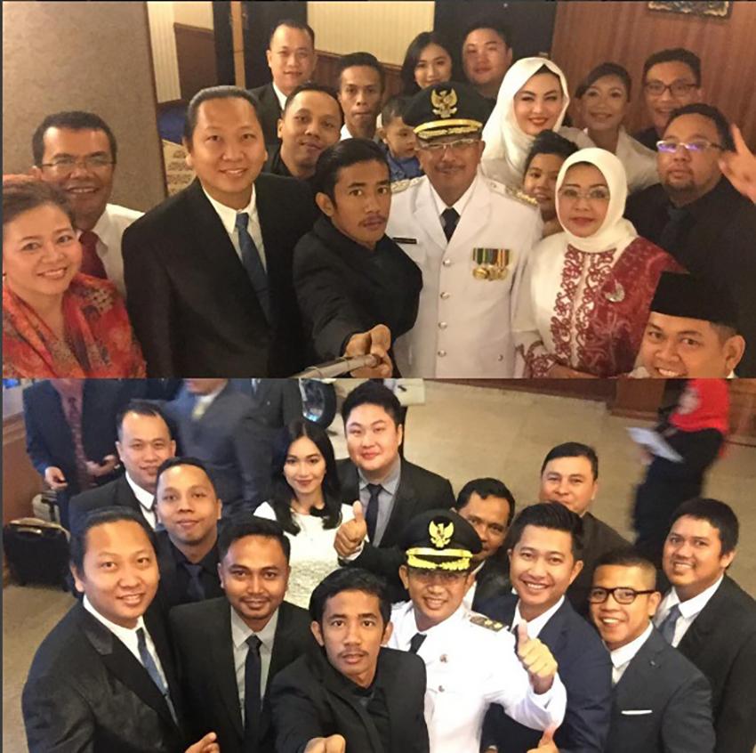 SELFIE DULU : Tim akun @Balikpapanku saat pelantikan Wali Kota dan Wawali Balikpapan.
