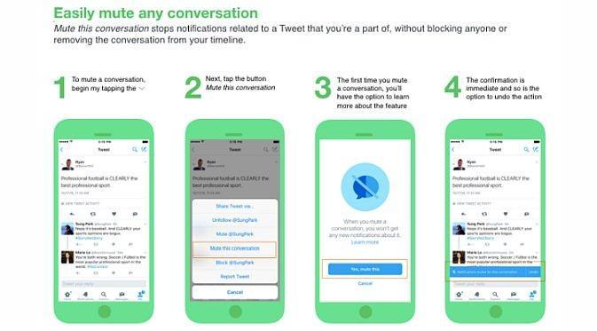 Pengguna Twitter mulai hari ini dapat mengaktifkan fitur mute untuk kata kunci atau frasa tertentu, bahkan kalimat di menu notifikasi (Foto: Ist)