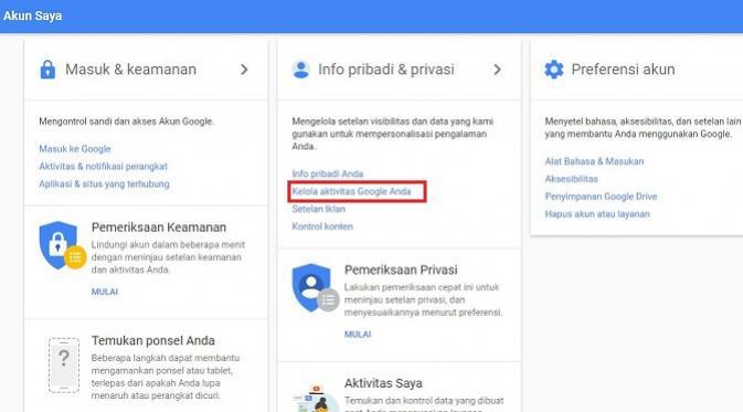 Cara mengetahui layanan Google yang menyimpan aktivitas pengguna dan mengantisipasinya